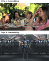 girls and guys at the wedding