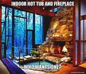 indoor hot pool and fireplace